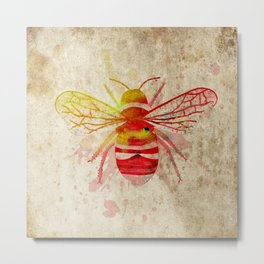 Watercolor Bumblebee Metal Print