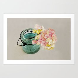 Pink and Yellow Hydrangeas on Taupe Art Print
