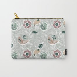 Paisely Flower Pattern Green Gray Carry-All Pouch