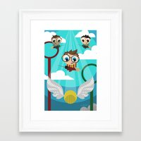 quidditch Framed Art Prints featuring QUIDDITCH by Chris Thompson, ThompsonArts.com