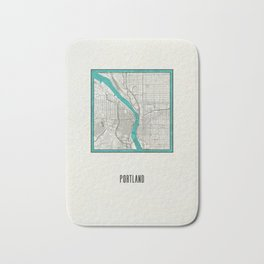 Portland Metallic Inlay Map Bath Mat