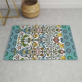 flower and birds in Persian blue mosaic Rug