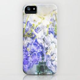 Summertime Purple & White Hydrangeas In Mason Jars iPhone Case