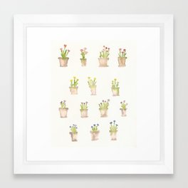 Flower pots watercolor print Framed Art Print