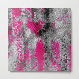 vintage psychedelic painting texture abstract in pink and black with noise and grain Metal Print