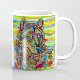 Colorful Psychedelic Rainbow Wolf Coffee Mug