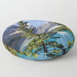 Moraine lake Canada summer Banff National Park mountains Canadian Rockies Alberta forest Floor Pillow