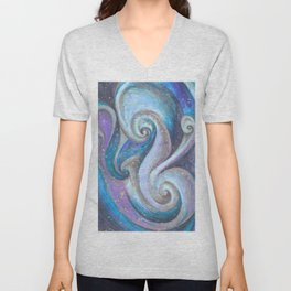 Swirl (blue and purple) Unisex V-Neck