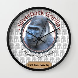 Silverback Gorilla Animal Conservation Wall Clock