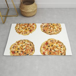 Four Pizzas Isolated On White Background Rug
