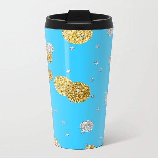 Glittery Dream-Gold Diamond Glitter Polkadots on aqua teal background Metal Travel Mug