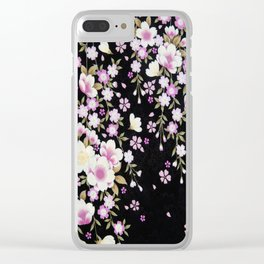 Cascading Pink Flowers Clear iPhone Case