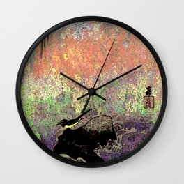 Japanese Wagtail by Waterfall Wall Clock