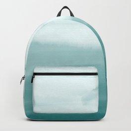 Ocean Sky // Surf Waves Teal Blue Green Water Clouds Watercolor Painting Beach Bathroom Decor Backpack