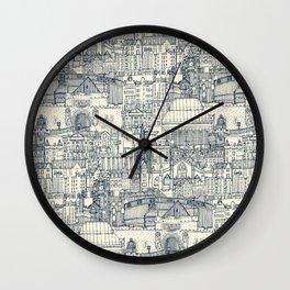 Edinburgh toile indigo pearl Wall Clock