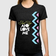 SHUT UP AND LOVE ME © PURPLE LIMITED EDITION for IPHONE Womens Fitted Tee Tri-Black SMALL