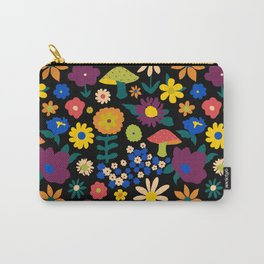 60's Country Mushroom Floral in Black Carry-All Pouch