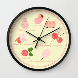 Colors: pink (Los colores: rosa) Wall Clock