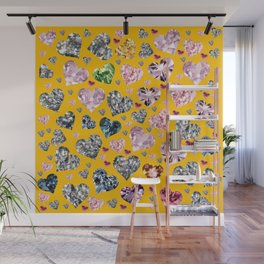 Heart Diamonds are Forever Love Yellow Wall Mural