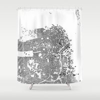 san francisco map Shower Curtains featuring San Francisco Map Schwarzplan Only Buildings by City Art Posters
