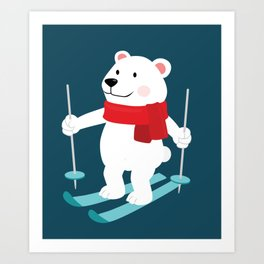 Lets Go Skiing with Mr Polar Bear this Merry Christmas Art Print