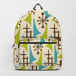 Retro Mid Century Modern Atomic Wing Pattern 423 Brown Olive Green and Turquoise Backpack