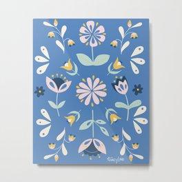 Folk Flower Pattern Floral Metal Print