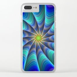 Peacock Feathered-Inspired Spiral Fractal Art Clear iPhone Case