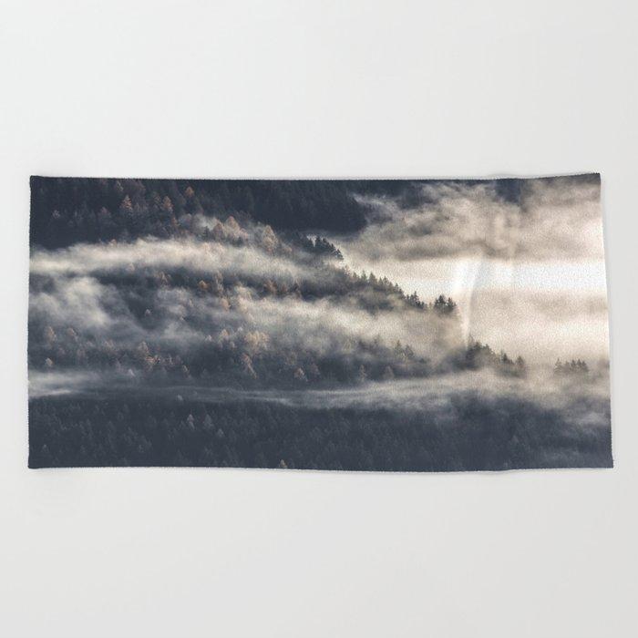 Foggy Landscape Beach Towel