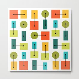 Atomic Age Simple Shapes Multicolored Metal Print