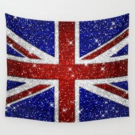 Glitters Shiny Sparkle Union Jack Flag Wall Tapestry