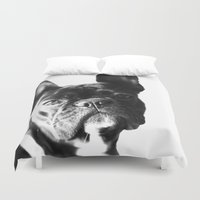 french bulldog Duvet Covers featuring French Bulldog by Falko Follert Art-FF77