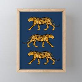 Tigers (Navy Blue and Marigold) Framed Mini Art Print