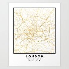 LONDON ENGLAND CITY STREET MAP ART Art Print