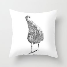 Inquisitive seagull Throw Pillow