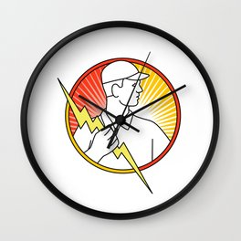 Electrician Holding Lightning Bolt Circle Monoline Wall Clock