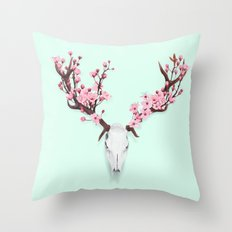 CHERRY BLOSSOM SKULL Throw Pillow