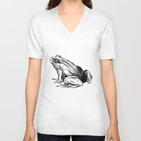 frog V-neck T-shirts featuring Frog by Aubree Eisenwinter