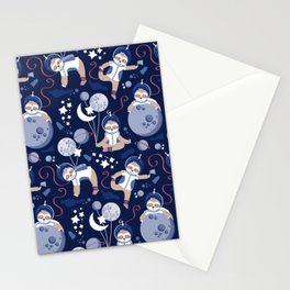 Best Space To Be // navy blue background indigo moons and cute astronauts sloths Stationery Cards