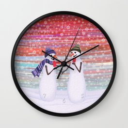 snowmen with popsicles Wall Clock
