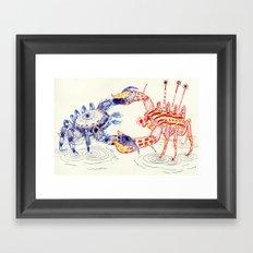 Crabby Fight Framed Art Print