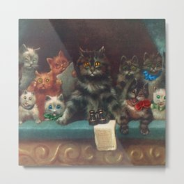 Cats & Kittens with Binoculars at the Theater Metal Print