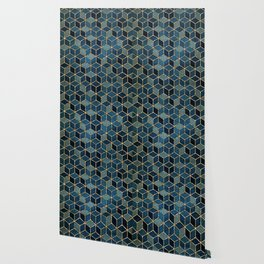 Shades Of Turquoise Green & Blue Cubes Pattern Wallpaper