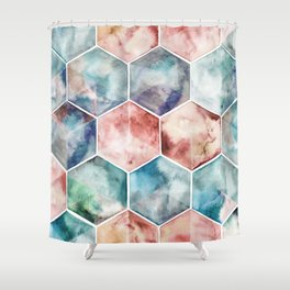 Earth and Sky Hexagon Watercolor Shower Curtain