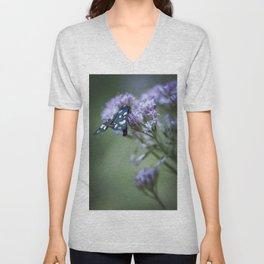 A black butterfly on a wildflower Unisex V-Neck