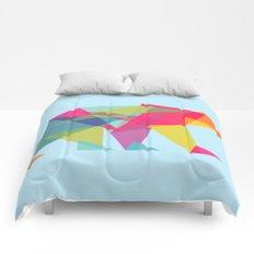 Fractal Bear - neon colorways Comforters