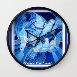 Peace On Earth Greetings With Doves  Wall Clock