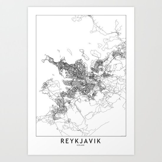 Reykjavik White Map by multiplicity