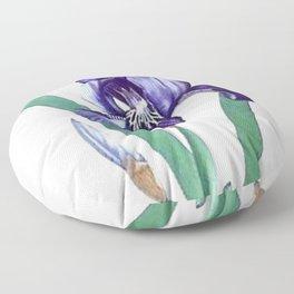 Vintage Botanical Purple Iris Flower Floor Pillow