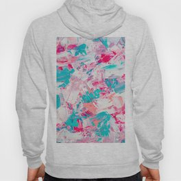 Modern bright candy pink turquoise pastel brushstrokes acrylic paint Hoody
